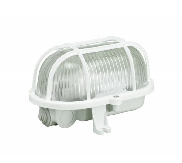 Šviestuvas IP44 60W E27 OVAL plastik. baltas (D.3151)