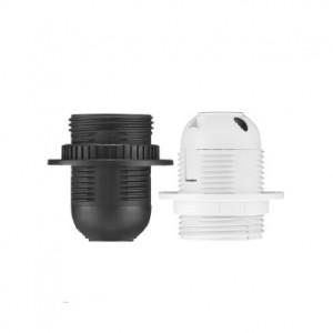 Lempų lizdas E27 plastikas balt. su sijon. D.3006